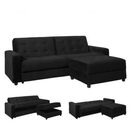 Ε9579,2 -JACKSON 2ΘΕΣΙΟΣ καναπές/κρεβάτι& σκαμπώ μαυρό