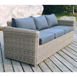 ARIZONA-Καναπές 3-θεσιος αλουμινίου πλέξη wicker γκρί-καφέ
