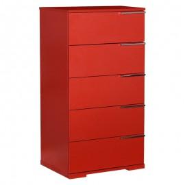 Συρταριέρα Trendy πέντε συρταριών σε κόκκινο χρώμα 55x43x107εκ