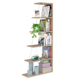 Βιβλιοθήκη mini TARS sonoma χρώματος με λεπτομέρειες σε λευκό 65x22x146 εκ