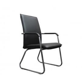 COLBY πολυθρόνα χρωμίου μαύρο PU eo561