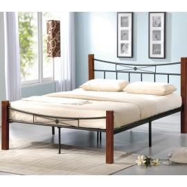 FLORA Mεταλλικό-ξύλινο Κρεβάτι Διπλό για στρώμα 160Χ200 ΕΚ