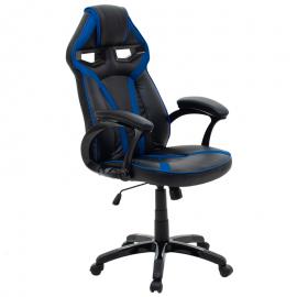 Καρέκλα γραφείου MARIO bucket από pu χρώμα μαύρο-μπλε