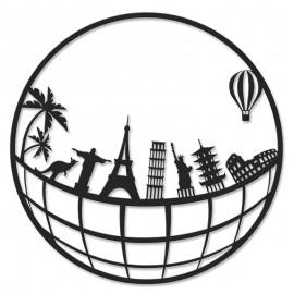 119-000917 Μεταλλικό διακοσμητικό τοίχου Travel 45x0,3x45εκ