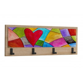 119-000914 Κρεμάστρα Wall art σε φυσικό χρώμα με θέμα Heart 70x4x25εκ