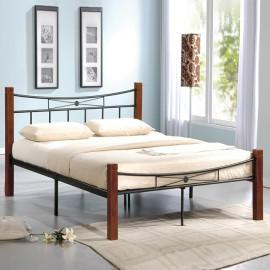 Ε8026 FLORA Κρεβάτι 160x200cm Μεταλ.Μαύρο/Ξύλο Καρυδί