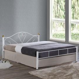 Ε8066,1 LAZAR Κρεβάτι 150x200cm Μεταλ.Άσπρο