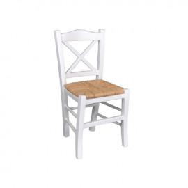 Ρ967,Ε8 METRO Καρέκλα Ψάθα Εμποτ.Λάκα Άσπρο