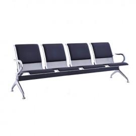 Ε504,02 Κάθισμα Υποδοχής 4-Θ Μαύρο PVC (Σκελ.Χρώμιο)