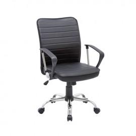 ΕΟ219 BF3450 Πολυθρόνα Γραφείου Χρώμιο/Pvc Μαύρο