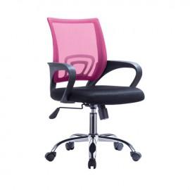 ΕΟ254,71F BF2101-F Χρώμιο Πολυθρόνα Ροζ/Μαύρο Mesh (Συσκ.1)