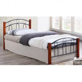 Ε8108 NORTON Κρεβάτι 140x190cm Mεταλ.Μαύρο/Ξύλο Καρυδί
