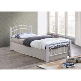 Ε8108,1 NORTON Κρεβάτι 140x190cm Μεταλ.Άσπρο/Ξύλο Άσπρο