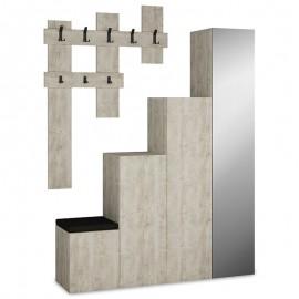 119-000658 Έπιπλο εισόδου-παπουτσοθήκη UP 10 ζεύγων κρεμάστρα antique λευκό 150x37x180