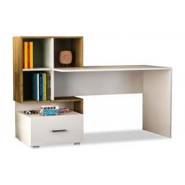 057-000001 Γραφείο εργασίας με βιβλιοθήκη Bloom χρώμα λευκό-καρυδί 153x60x105εκ