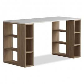 119-000797 Γραφείο Colmar χρώμα λευκό -σκούρο φυσικό 140x60x75εκ