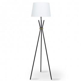 009-000034 Μεταλλικό μαύρο ματ-μπρονζέ φωτιστικό δαπέδου PWL-0003 λευκό καπέλο Φ33-38x161εκ