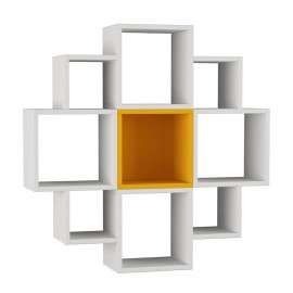 119-000858 Pαφιέρα τοίχου Fiore χρώμα λευκό -μουσταρδί 93,5x22x93,5εκ