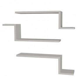 071-000102 Ραφιέρα τοίχου τριών τεμαχίων PWF-0040 χρώμα λευκό 58x14,5x18εκ