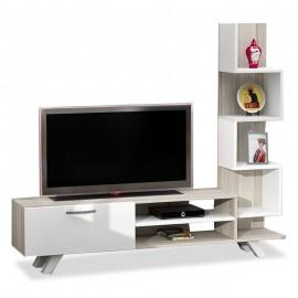 071-000037 Έπιπλο τηλεόρασης PWF-0011 χρώμα λευκό-Cordoba 150x38,5x131,5εκ