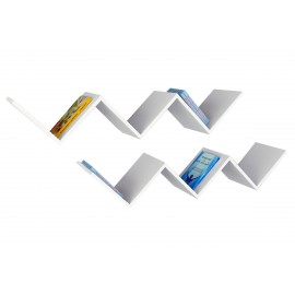 071-000180 Ραφιέρα τοίχου δύο τεμαχίων PWF-0079 χρώμα λευκό 129x22x24,5εκ