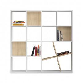 119-000050 Βιβλιοθήκη Honey χρώμα λευκό - φυσικό 125x24x125εκ