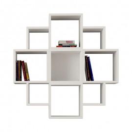 119-000068 Ραφιέρα τοίχου Fiore χρώμα λευκό 93,5x22x93,5εκ