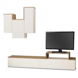 119-000693 Σύνθετο σαλονιού TIRTIL TV σε χρώμα λευκό - φυσικό 180x36x42εκ