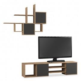 119-000789 Σύνθετο σαλονιού Hakuna Tv Stand χρώμα φυσικό - ανθρακί 180x35x42εκ