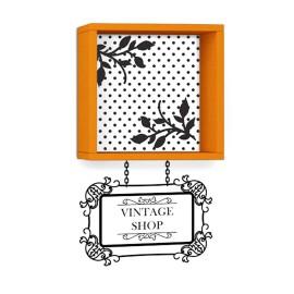 119-000170 Ραφιέρα τοίχου Vintage χρώμα πορτοκαλί με αυτοκόλλητο 34x20x34εκ