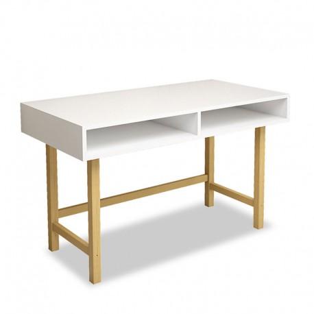 053-000051 Γραφείο Chic For λευκή επιφάνεια με ξύλινα πόδια σε φυσικό 120x60x74εκ
