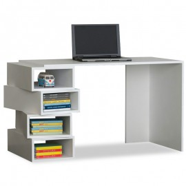 057-000020 Γραφείο εργασίας με ραφιέρα Jenga χρώμα λευκό 130x60x75εκ