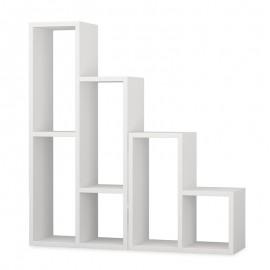 119-000970 Βιβλιοθήκη - διαχωριστικό χώρου Sule σε λευκό χρώμα 42-42x20x45-89εκ