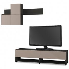 119-000822 Σύνθετο σαλονιού Babu TV χρώμα ανθρακί- ανοικτό μόκα 140x37x35εκ