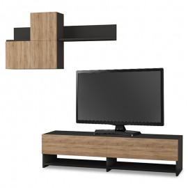 119-000823 Σύνθετο σαλονιού Babu TV χρώμα ανθρακί - φυσικό 140x37x35εκ