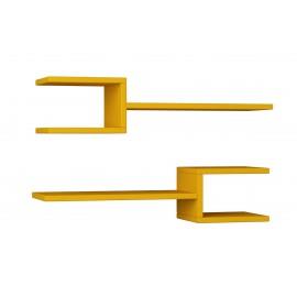 119-000859 Ραφιέρα τοίχου Fork δυο τεμαχιών χρώμα μουσταρδί 75x22x17,5εκ