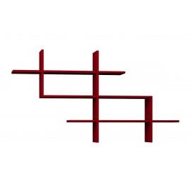 119-000862 Ραφιέρα τοίχου βιβλιοθήκη Halic χρώμα σκούρο κόκκινο 150x22x82εκ
