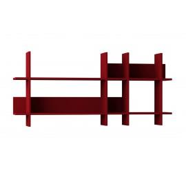 119-000831 Ραφιέρα τοίχου Beads σε χρώμα σκούρο κόκκινο 150x22x70εκ