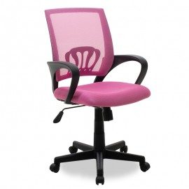 034-000017 Καρέκλα γραφείου εργασίας Berto με ύφασμα mesh χρώμα ροζ
