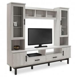 123-000062 Σύνθετο σαλονιού Bonito TV χρώμα white wash-ebony 200x43x180εκ