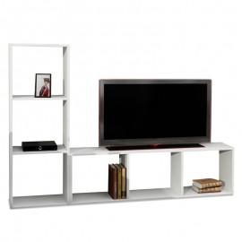 071-000114 Έπιπλο τηλεόρασης PWF-0049 χρώμα λευκό 123x29,5x90εκ