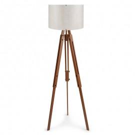 071-000030 Φωτιστικό δαπέδου ρυθμιζόμενο PWL-0004 πόδια καφέ - λευκό καπέλο Φ38x140εκ