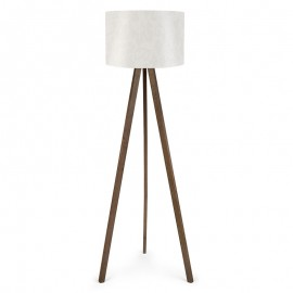 071-000012 Φωτιστικό δαπέδου PWL-0001 πόδια καφέ - λευκό καπέλο Φ38x140εκ