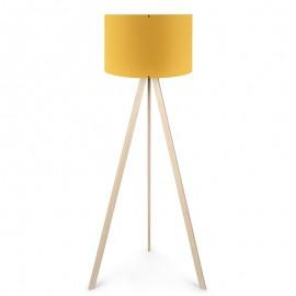 071-000026 Φωτιστικό δαπέδου PWL-0002πόδια σε φυσικό - κίτρινο καπέλο Φ38x140εκ