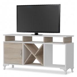 071-000009 Έπιπλο τηλεόρασης PWF-0004 χρώμα λευκό-Cordoba 120x29,5x53,5εκ