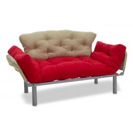 071-000064 Καναπές κρεβάτι PWF-0018 2θέσιος με ύφασμα χρώμα κόκκινο-κρεμ 155x73x85cm