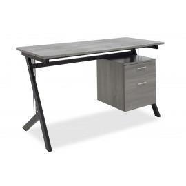 007-000017 Γραφείο Workman μεταλλικό με επιφάνεια MDF χρώμα γκρι-μαύρο 130X60X76εκ