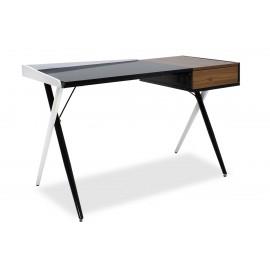 007-000016 Γραφείο υπολογιστή Cronos μεταλλικό επιφάνεια MDF χρώμα μαύρο-λευκό-καρυδί 125x60x79εκ