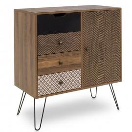 066-000003 Συρταριέρα Boho με συρτάρια-ντουλάπι καρυδί μεταλλικά πόδια 79,5x39,5x86εκ