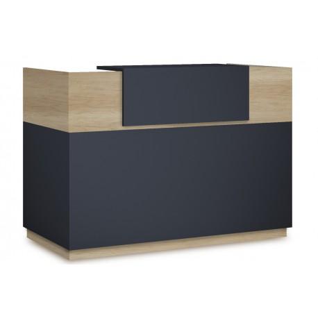 069-000016 Γραφείο reception Lotus σε χρώμα φυσικό - ανθρακί 180x70x110εκ